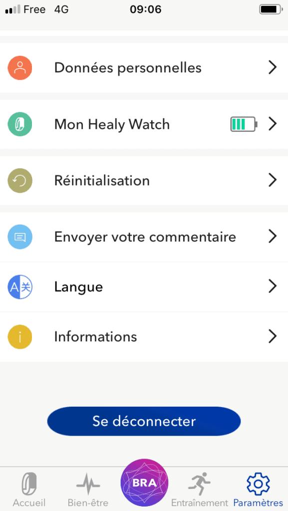 écean paramètres healy watch app